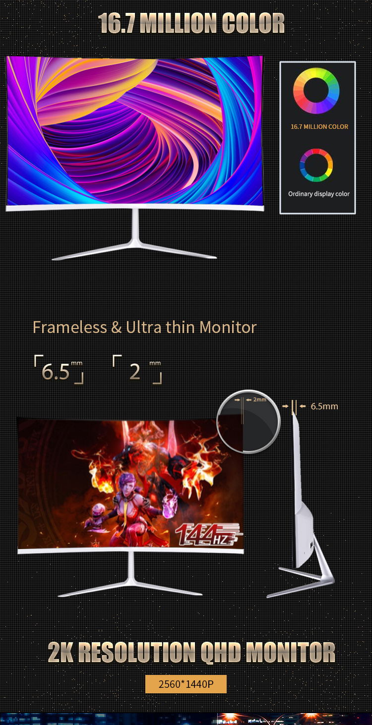 white led HD curved 24 144HZ gaming pc monitor