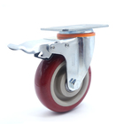 4inch 100mm Red Medium Load swivel caster with brake lock universal Castor Multidirectional goods shelves omnidirectional Wheels