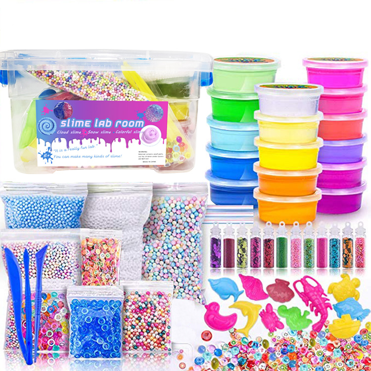 Educational DIY Toy Foam Glitter Cream Fluffy Slime Vomit Stretchi Crystal Clear Charms Slime Kit