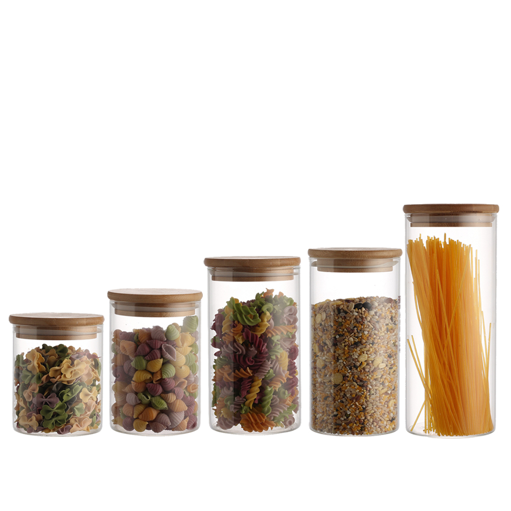 Premium Quality High Borosilicate Glass Jar Kitchen Food Storage Canister Container with Wooden Airtight Lid