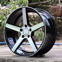 Classical 5 Spoke star black machined face alloy wheels 18