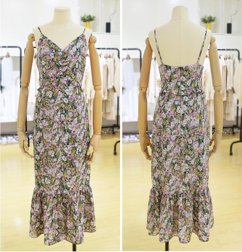 Women Floral Print V-Neck Sleeveless Dress