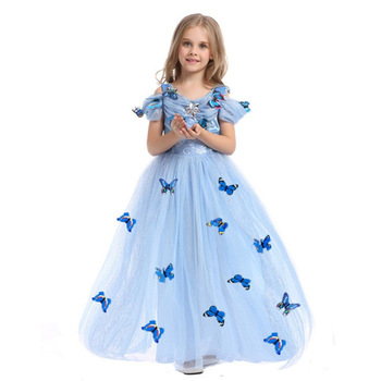 Wholesale Aurora Princess Dress Sleeping Beauty Costume Girls Dress with Butterfly for Kids Short Sleeves Lace Dress