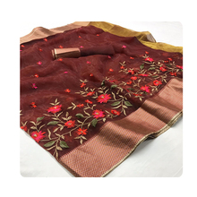 Roze Steen Werk Borduren Designer <span class=keywords><strong>Saree</strong></span>
