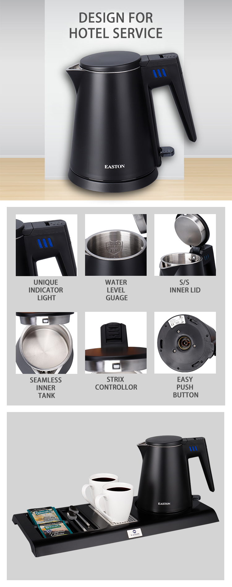 Simple design temperature hotel stainless steel kettle electric kettle
