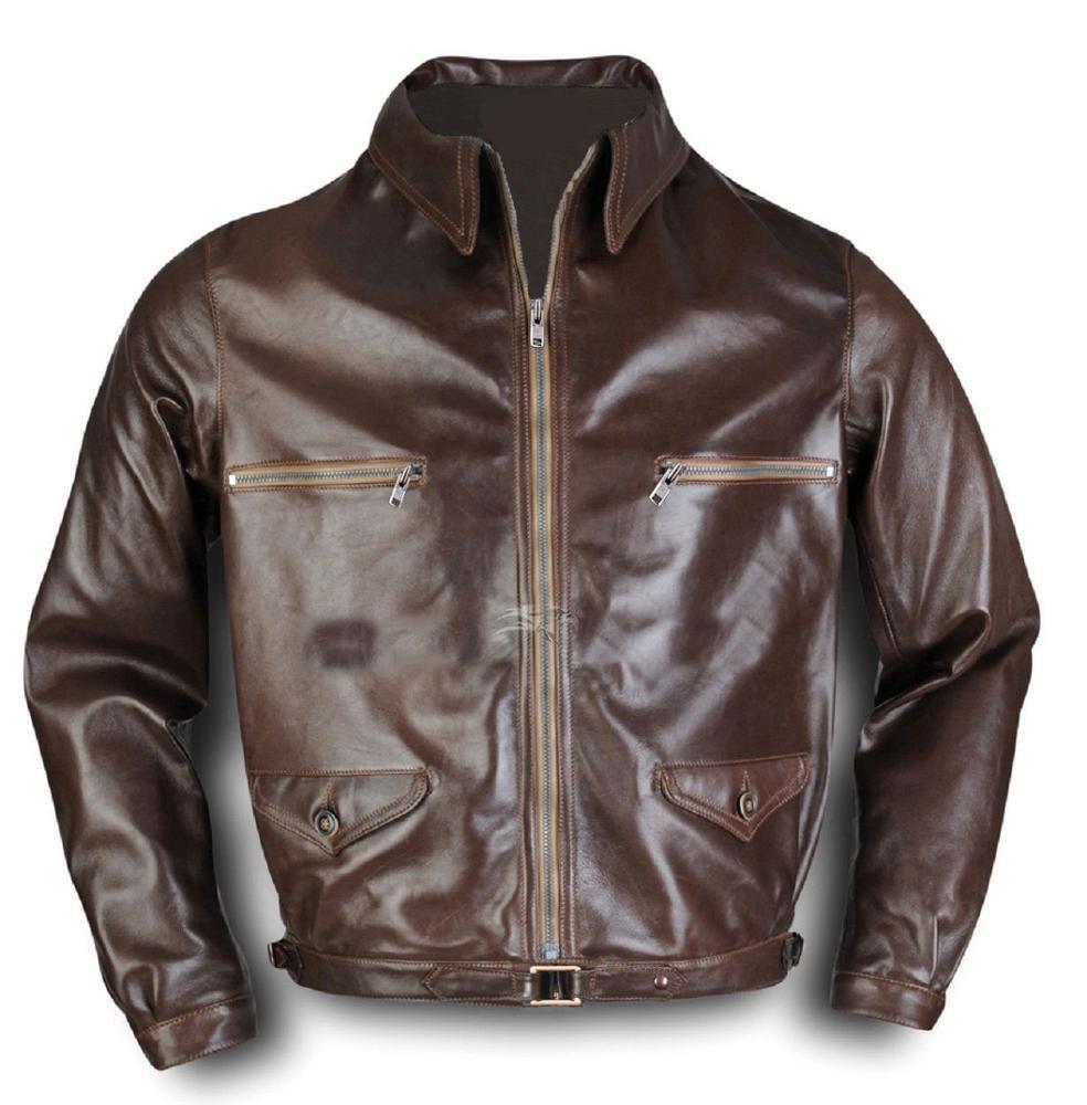Dunkerque Marrone Shearling giacca in pelle per gli uomini Bane Aviatore Pelliccia Bomber