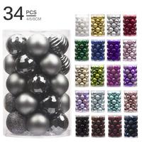 34pcs 4cm Christmas Tree Decorations Balls Sets Colorful Plastic christmas hanging balls ornaments