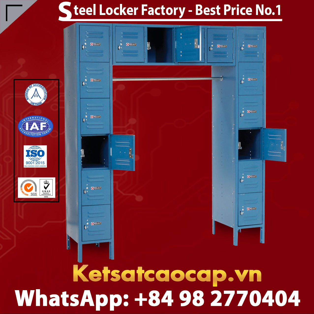 Steel Locker 12 x18x12 16 Door Ready To Assemble Blue