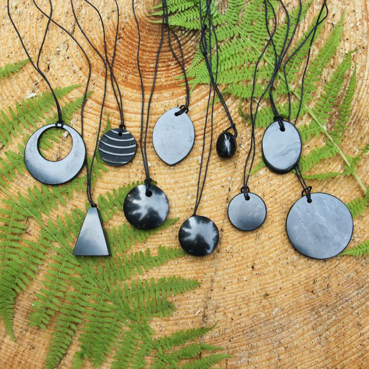 Shungite Stone Pendant Genuine Mineral EMF Shield Protection Amulet Genuine