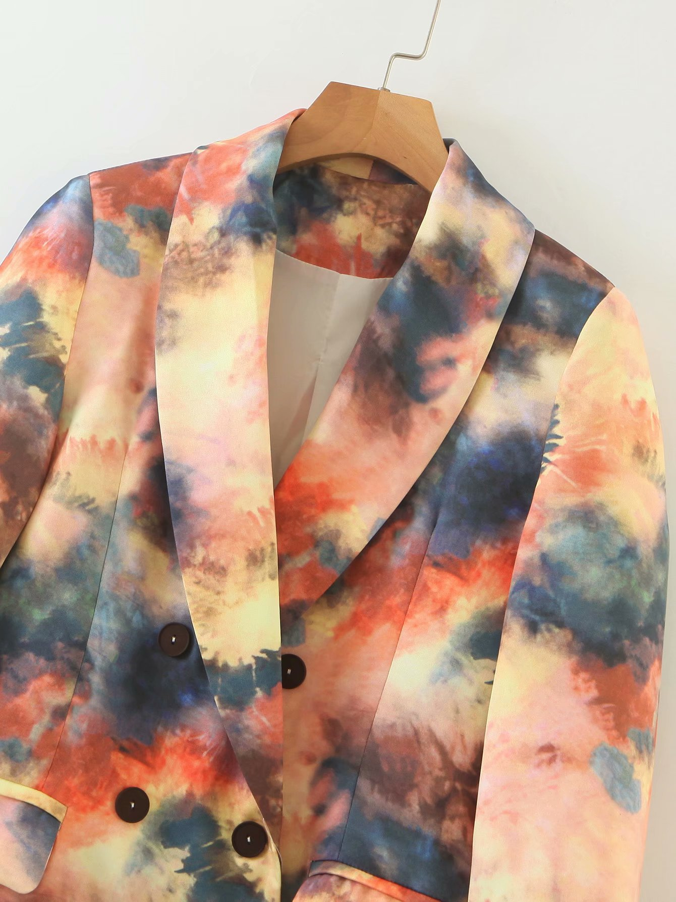 Elegant Tie dye Printed Oversize blazer mujer Shawl Collar Flap pocket design Stylish Long blazers suits women