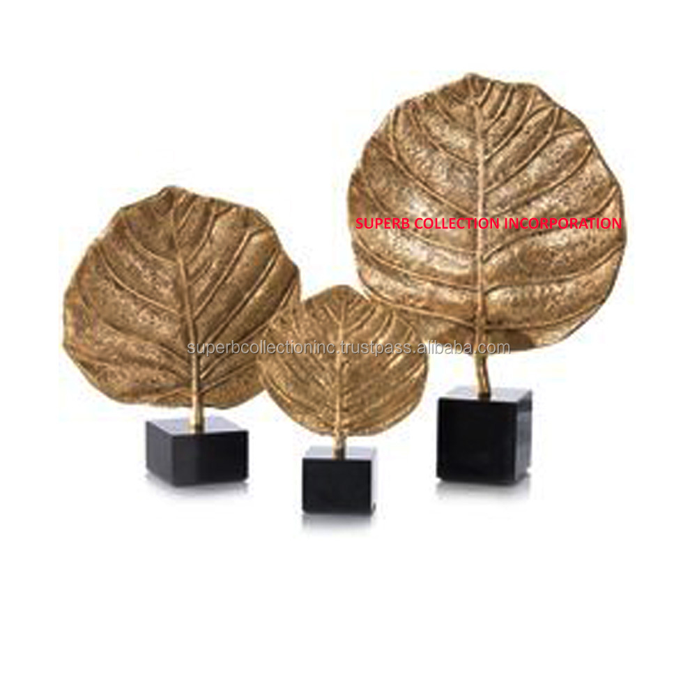 Golden Leaf Metal Abstract Sculptures