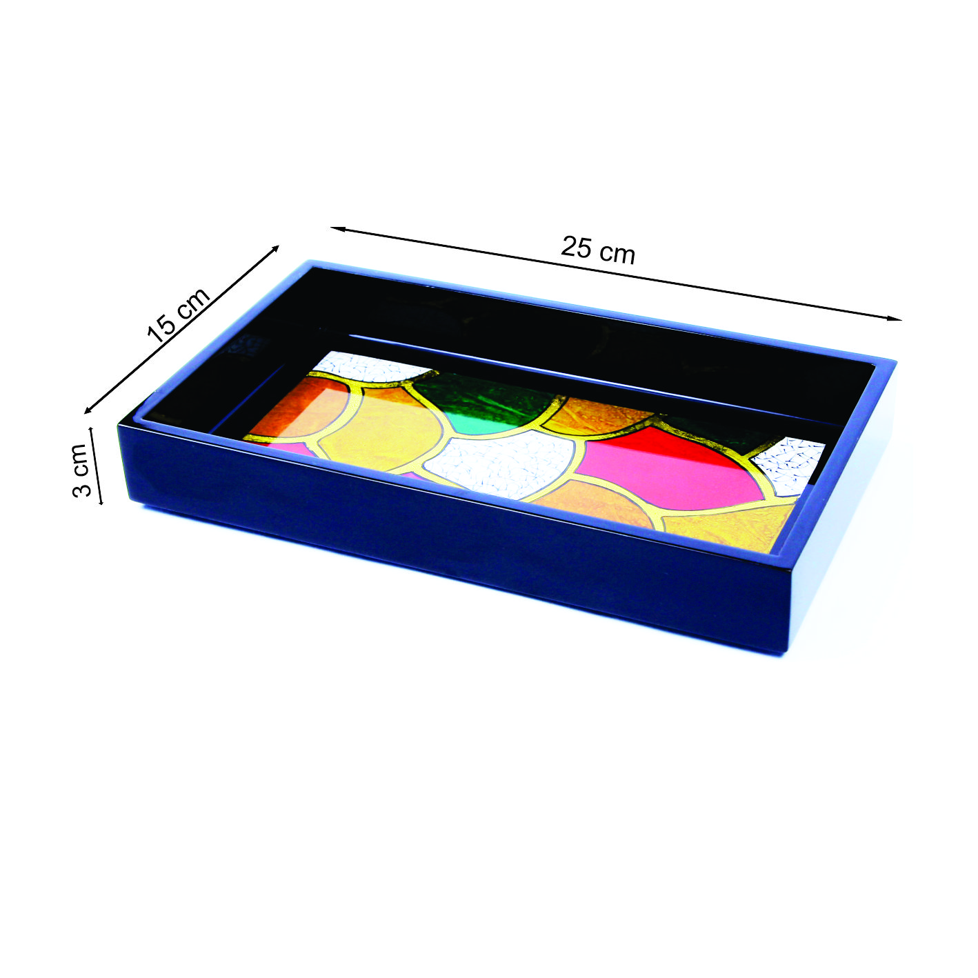 100% Wholesale Eco-Friendly Top Grade Best Quality Practical Raised Edge Vietnam Back And White Multi-Color Lacquer Tray