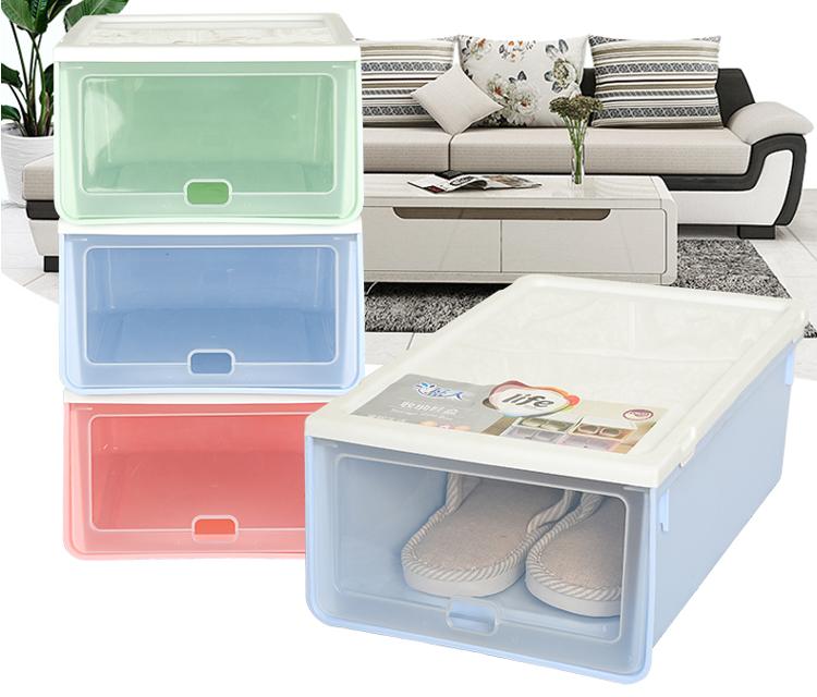 Pequeña de plástico transparente plegable de almacenamiento de calzado plegable caja con tapa