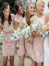 Изысканное розовое кружевное платье подружки невесты с короткими рукавами; Мини-платье с круглым вырезом; Платье подружки невесты; Сексуал...(Китай)