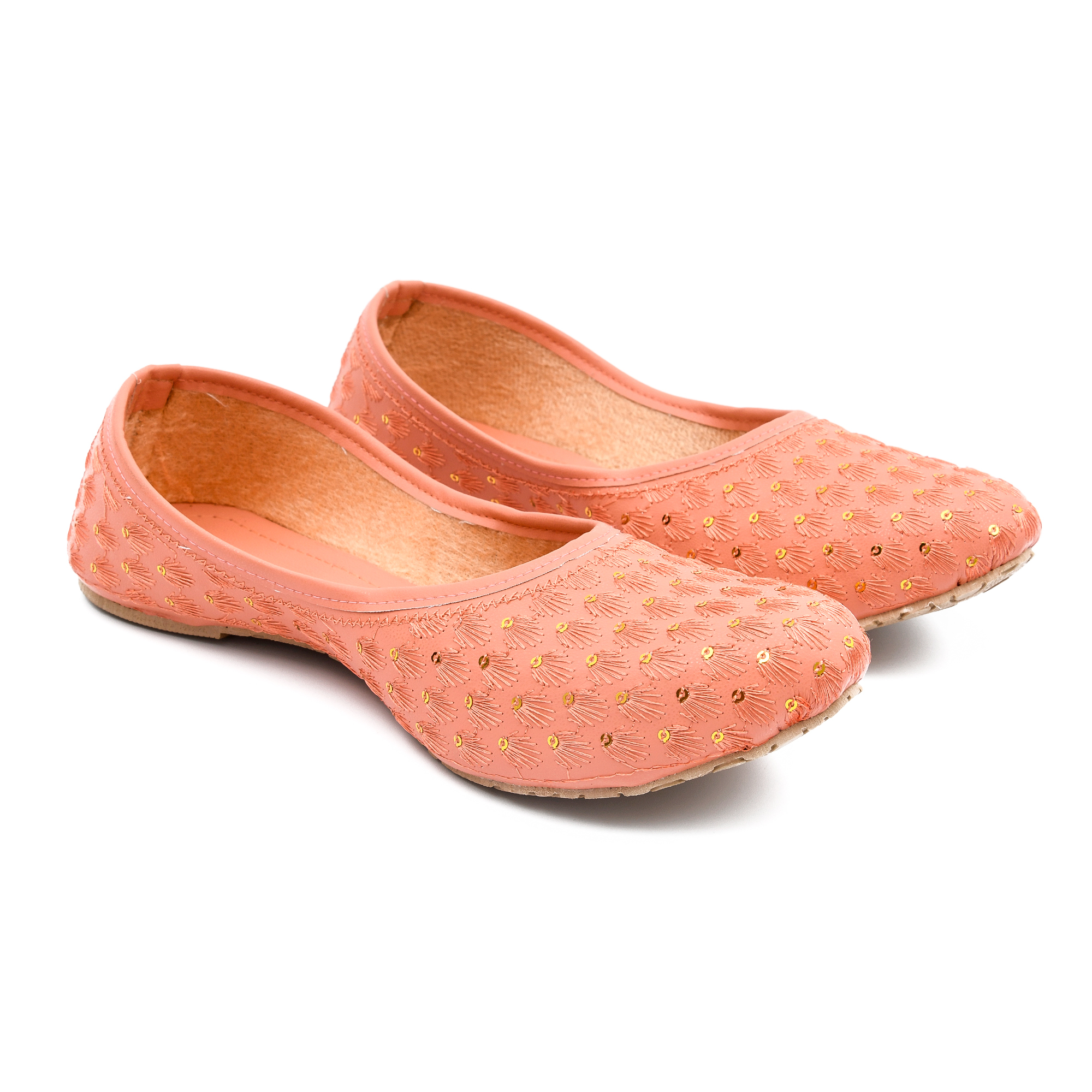 Women Shoes Jutties Indian Handmade Traditional Pink Leather Ballet Flats Mojari