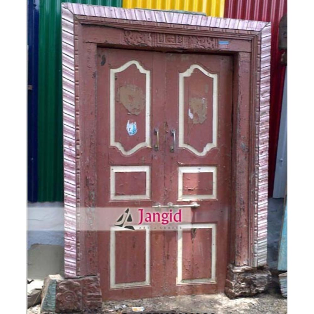 Antique Indian Carved Door with Frame Design