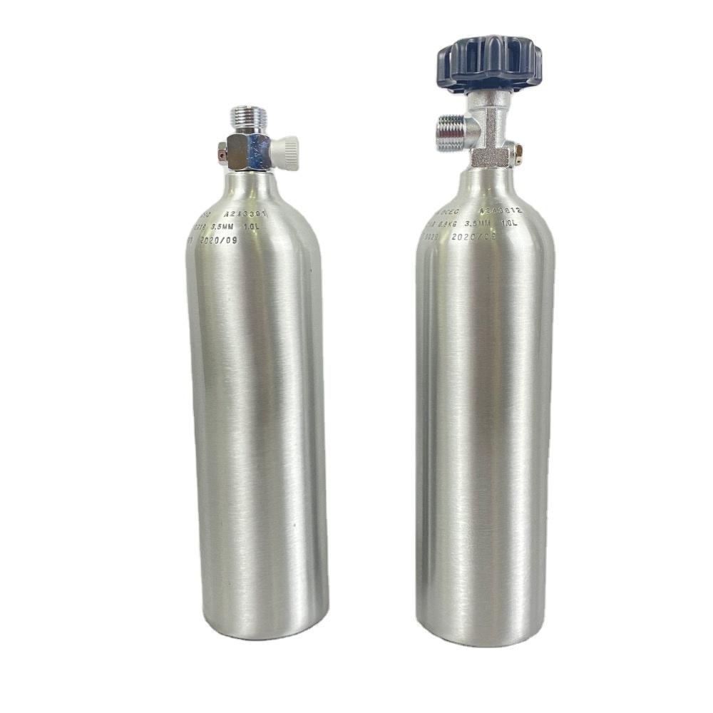 TPED 1L เติมแก๊สอลูมิเนียม Aquarium Co2กระบอก W21.8จับด้านข้างวาล์ว