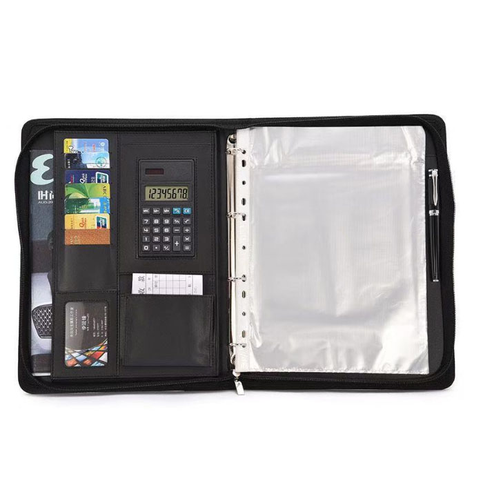 Leather A4 Padfolio with Calculator