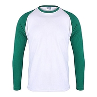 White and green full sleeve custom made oem t shirt