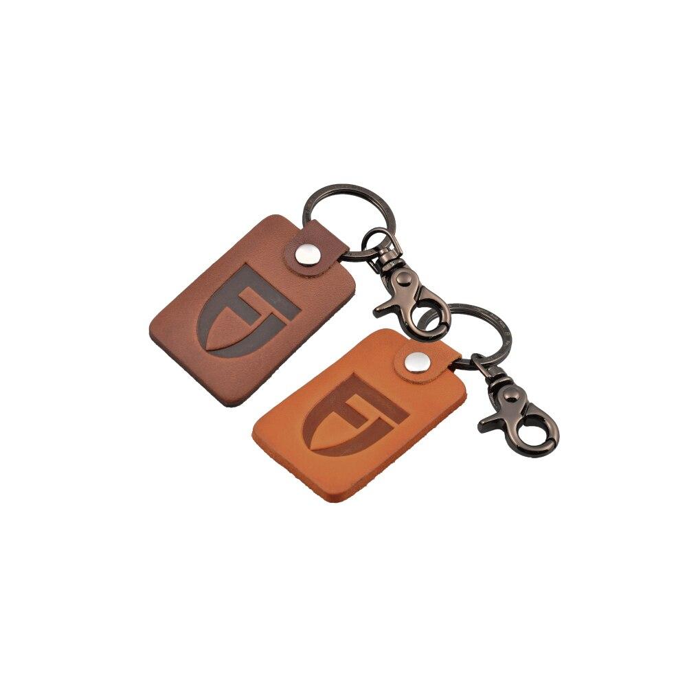 Fangster #190063 Fangster Stempel Logo Motorrad Leder Keychain Schlüssel Ring Universal Geschenk Schlüssel Fob Honig Braun Schlüsselring