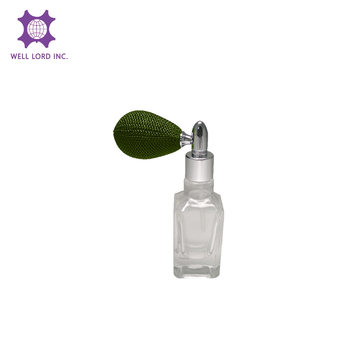 Fine 13ml rectangle glass bottle with dark forest green bulb atomizer bottle