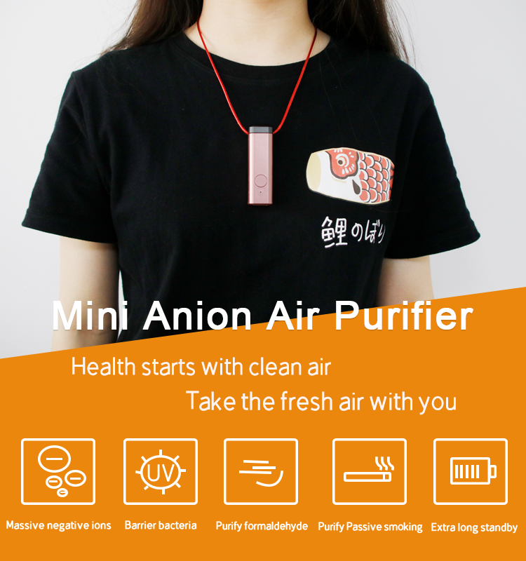 New Design Mini Size  USB Portable Wearable Necklace Air Purifier for Personal Care with Negative ionizer
