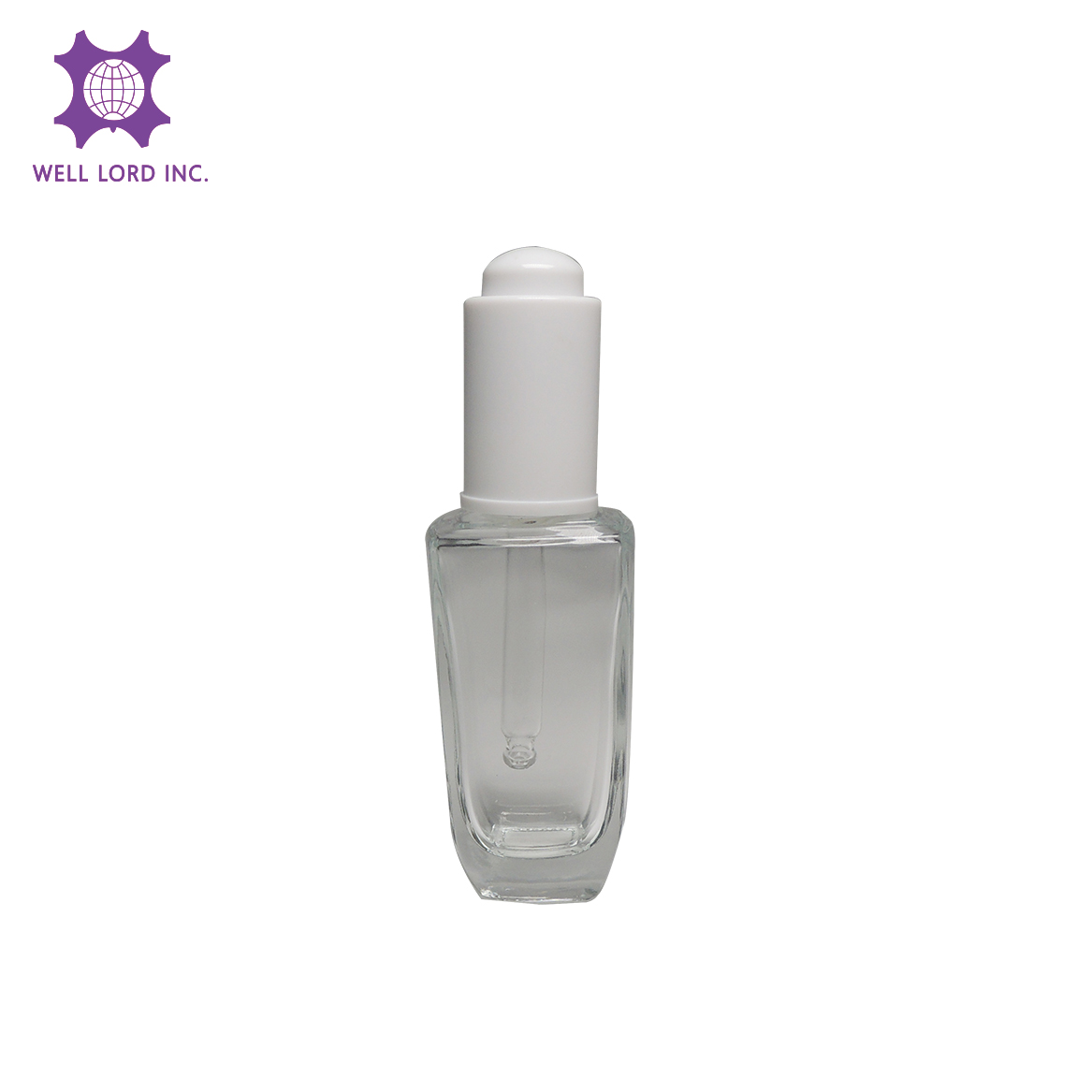 Luxury 35ml clear cylinder glass bottle with white dropper perfume dropper bottle