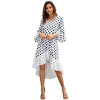 Clothes Women Spring Patchwork V Neck Ruffles Long Sleeve Dot Dresses