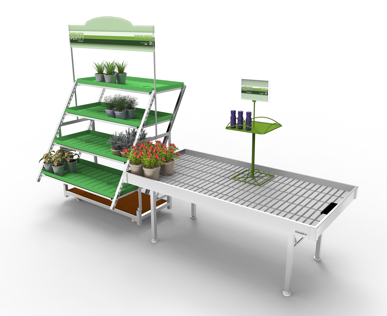 الألومنيوم مجموعة عرض مع الدانمركية عربة عرض الزهور النباتات الأسمدة حامل