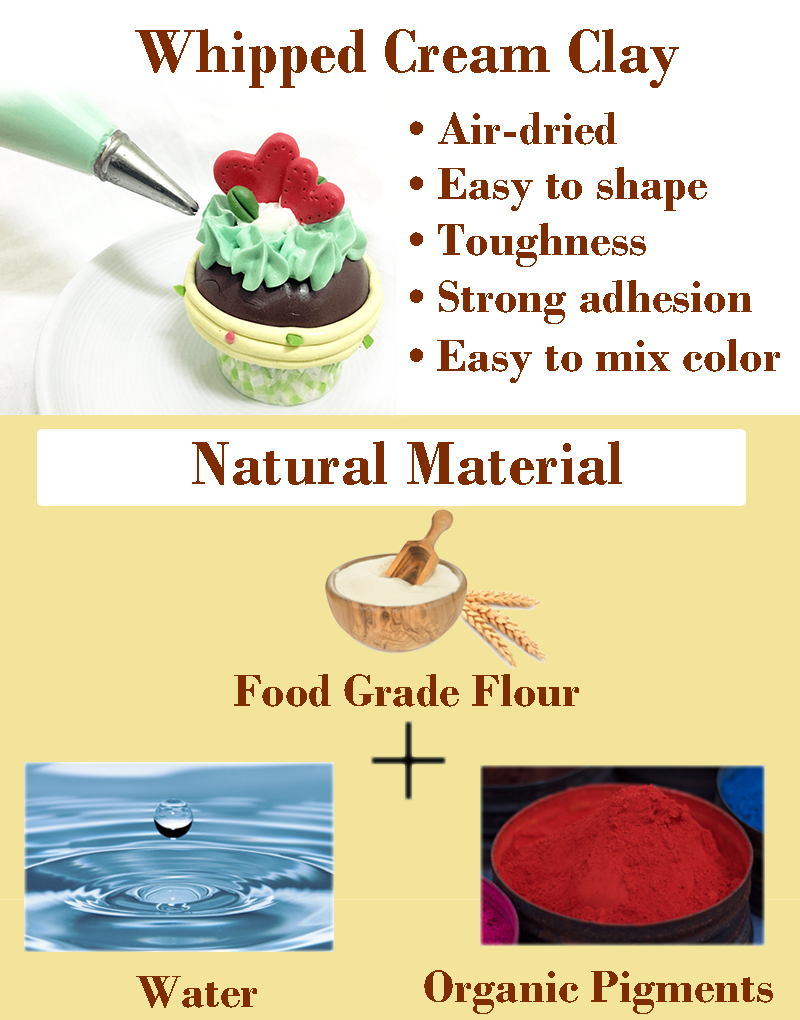 Light Color Fake Icing Simulation Whipped Cream Clay