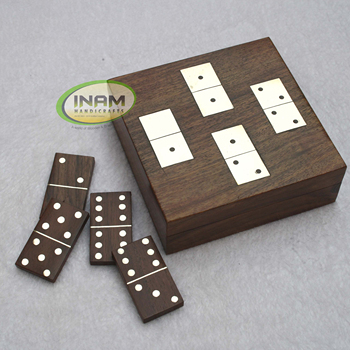 superior design Sheesham wood box with wooden domino chip Set, Decorative brass inlay wooden box with wooden domino chip set