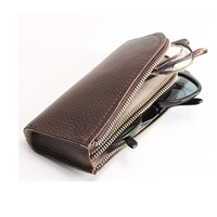 High quality reading glasses leather case for two sunglasses