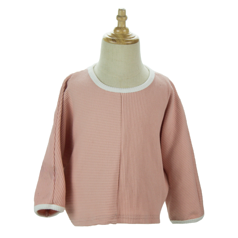 Cute Fashion Infant Baby  Girl Casual Ribbed Cotton  Pink Tops Long Sleeve O-neck  Summer T-Shirt