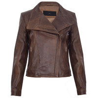 Ladies Brown Leather Jacket Classic Biker Style Moto Real Winter Leather Women's Jacket