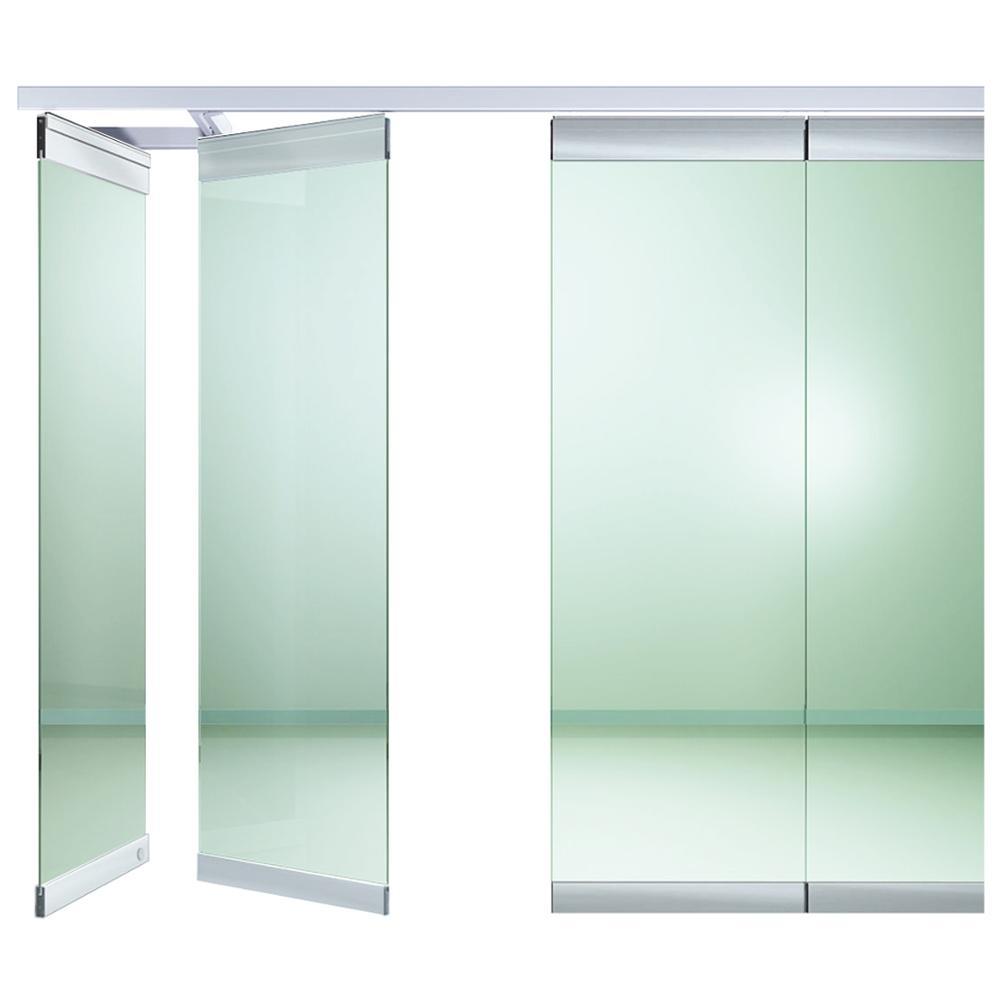 Dış ve iç kullanım çerçevesiz sürgülü katlanır cam kapılar camlı bölme kapısı ofis için