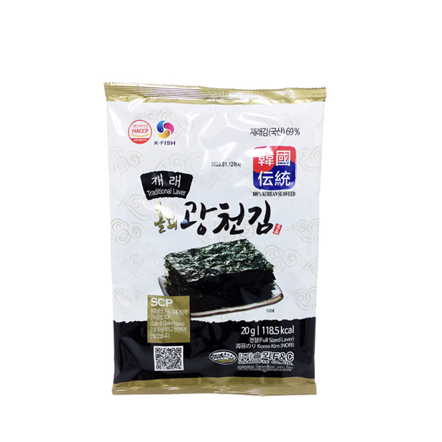 FDA Certified Korean Kwangcheon Lunch Size Roasted & Seasoned Laver (Shushi Nori) Seaweed Traditional Taste 4g 8sheets 3Pack