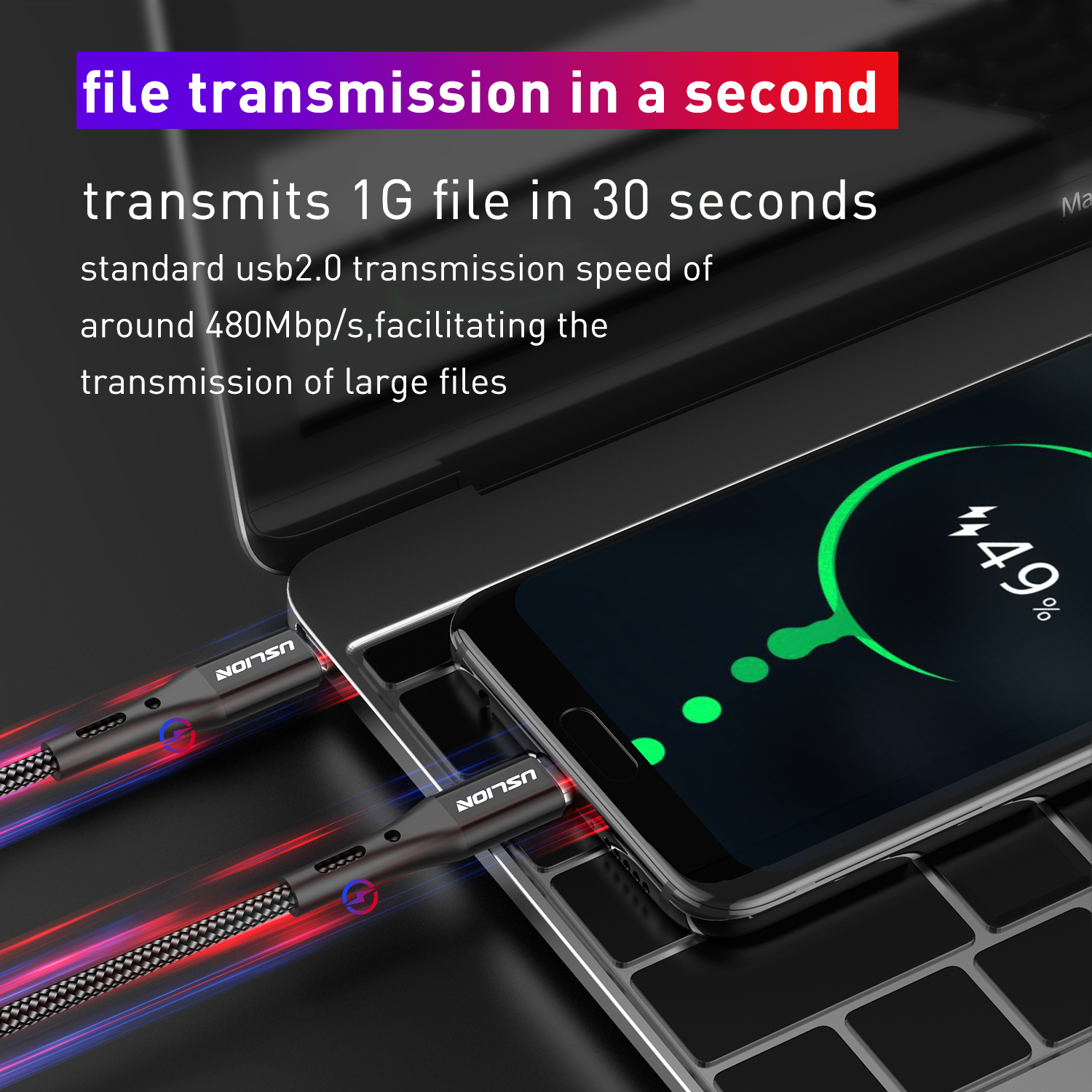 USLION Type C To USB C Cable for Samsung S10 Mobile Phone Charger Cord PD Type C Cable for MacBook Pro