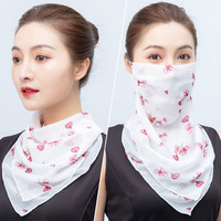 Multifunctional Sunshade Anti-UV Reusable Breathable Outdoor Cycling Neck Gaiter Lady Chiffon Ear Straps Bandana Face Scarf