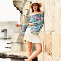 Wholesale Fashion Summer Patterned Women Blouse Shirt Coloured Shoulder Detailed Bohemian