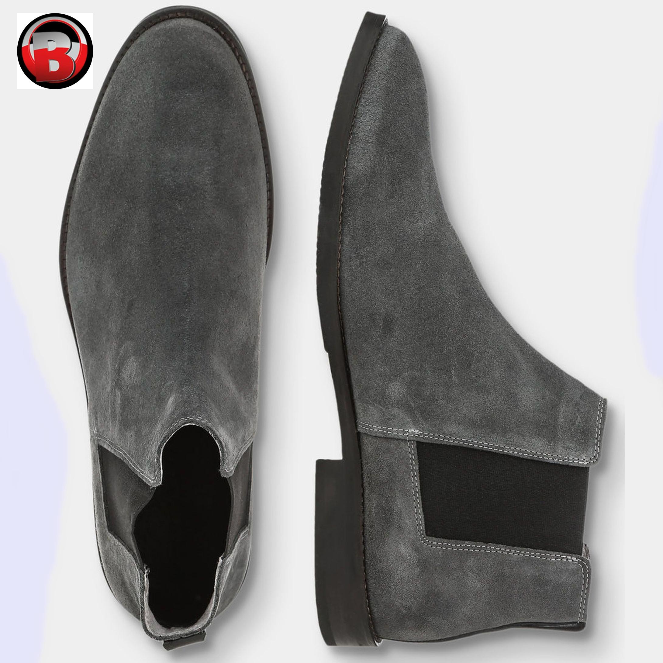 Grey Suede Chelsea Boots Men,Genuine