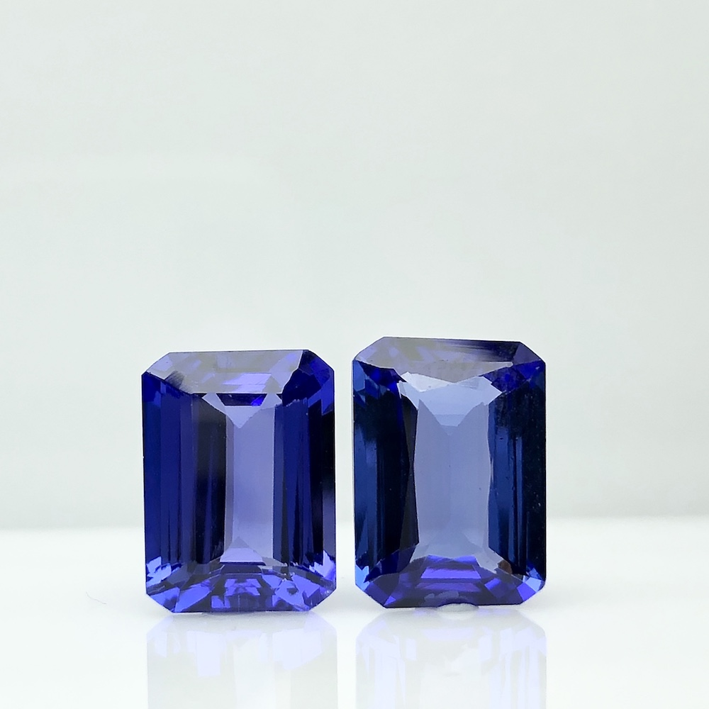 Best Royal Blue Octagon Pair 9 cts Top 100% Natural Tanzanite for Platinum Wedding Earring TAKAT - Rare & Unique gems