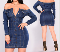 2019 Fall Clothing for Women Off Shoulder Ladies Jeans Fabric Denim Dress