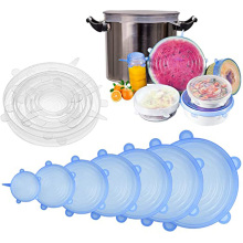 Dapur FDA Food Grade 6 Pack Bpa Gratis Reusable Fleksibel <span class=keywords><strong>Silikon</strong></span> <span class=keywords><strong>Stretch</strong></span> Lids