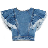 Stylish & Fashionable High Quality Denim Short Tops For Ladies