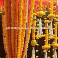 5 Feet Long Strands Marigold Garlands Artificial Flower Hanging, Decorative Indian Wedding Flowers