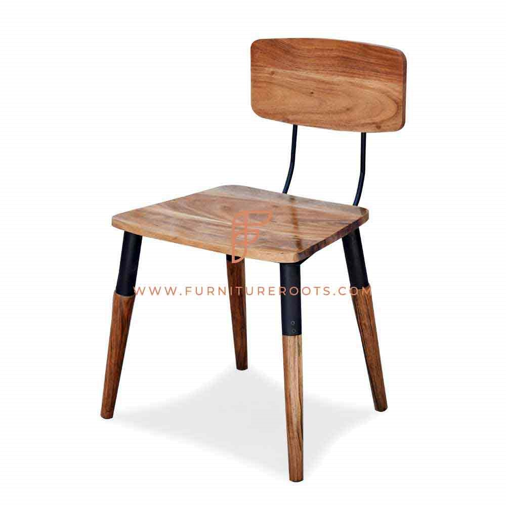 Solid Acacia Wood Metal Chair Wood Restaurant Furniture Industrial Inspire