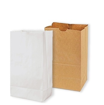 Natural SOS square bottom printed logo garbage white brown treat craft paper bag