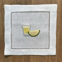 Embroidered cocktail napkins white linen 19