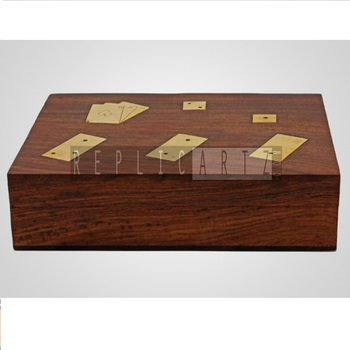 High Quality Wooden Dominoes & Dice Set With Playing Card Holder Hand Carved With Brass Inlay