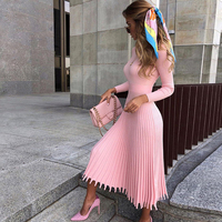 Stand Neck Knitting Solid Long Sleeve Pleated Maxi Dress Women Autumn Dress 2020